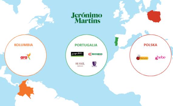 Mapa świata ze sklepami Jeronimo Martins