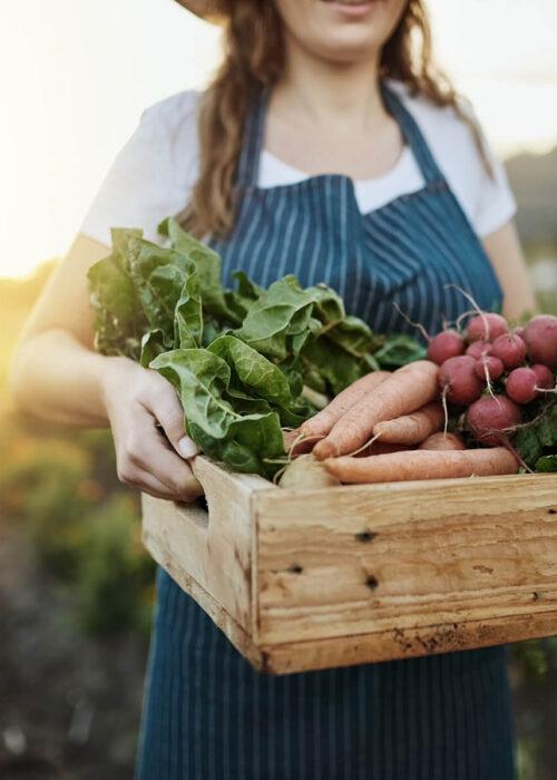 Kobieta trzymająca skrzynkę z warzywami