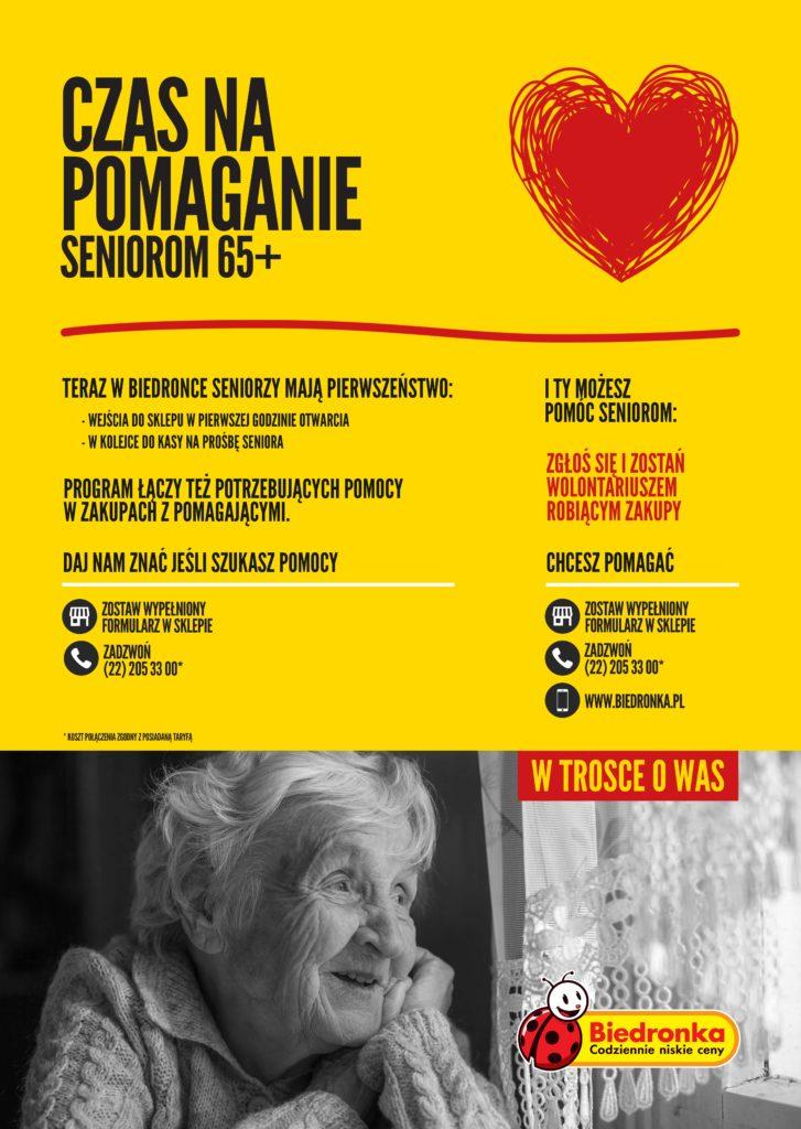 Żółty plakat z nagłówkiem czas na pomaganie i zdjęciem starszej kobiety