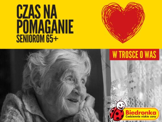 Plakat czas na pomaganie seniorom 65+