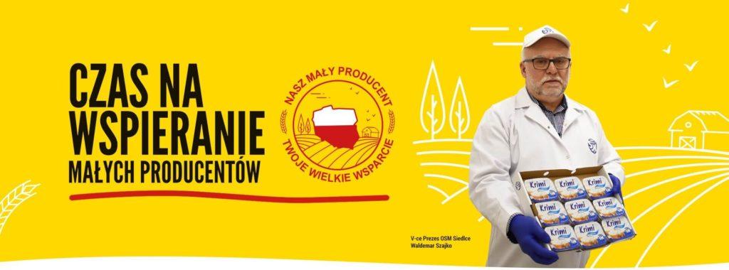 żółta grafika z napisem cza na wspieranie małych producentów i mężczyzną trzymającym serek kiri