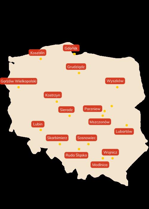 Mapa Polski z zaznaczonymi Centrami Dystrybucyjnymi Jeronimo Martins