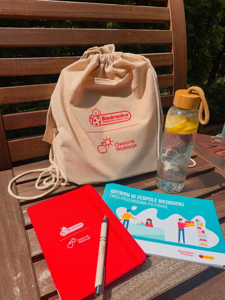 zestaw powitalny dla praktykantów - torba, notes, butelka i długopis
